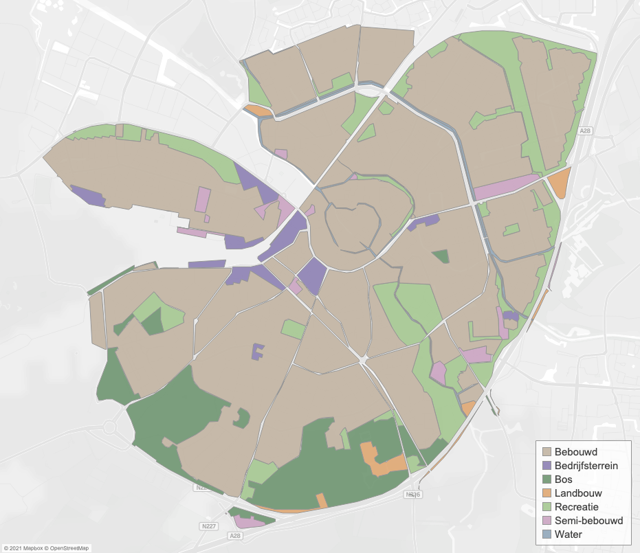 Map with areas and land use in Amersfoort. Created in Tableau 2021.2.